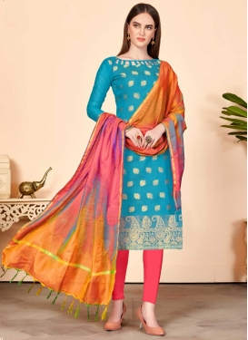 Thread Work Light Blue and Rose Pink Trendy Churidar Suit