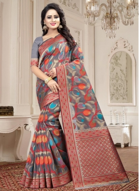 Thread Work Linen Traditional Saree