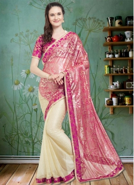 Thread Work Lycra Half N Half Trendy Saree For Ceremonial