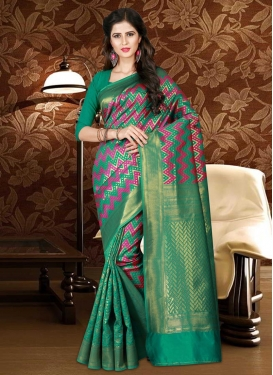 Thread Work Magenta and Sea Green Traditional Saree