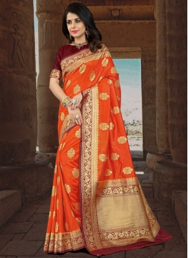 Thread Work Maroon and Orange Contemporary Style Saree