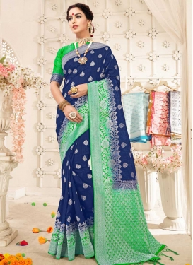 Thread Work Mint Green and Navy Blue Trendy Saree