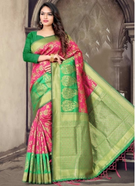 Thread Work Mint Green and Rose Pink Classic Saree