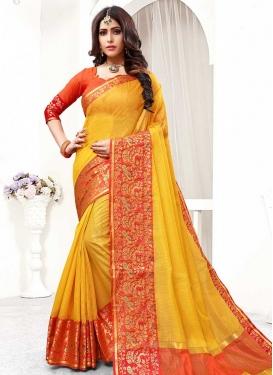 Thread Work Mustard and Orange Traditional Designer Saree