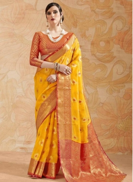 Thread Work Mustard and Orange Trendy Classic Saree