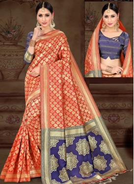 Thread Work Navy Blue and Orange Designer Contemporary Saree