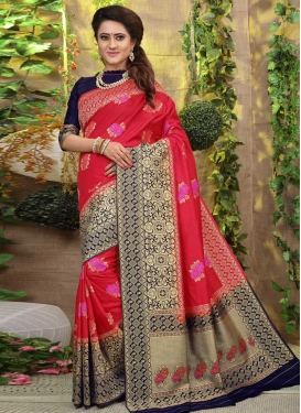 Thread Work Navy Blue and Red Contemporary Style Saree
