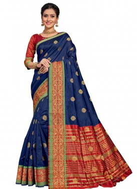 Thread Work Navy Blue and Red Designer Traditional Saree