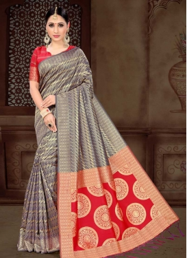 Thread Work Navy Blue and Red Traditional Designer Saree