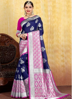Thread Work Navy Blue and Rose Pink Trendy Saree