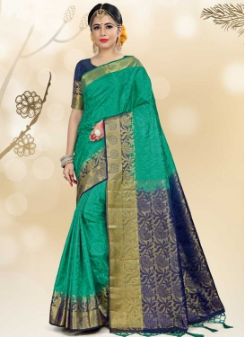 Thread Work Navy Blue and Sea Green Classic Saree