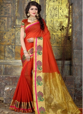 Thread Work Nylon Silk Contemporary Saree For Casual