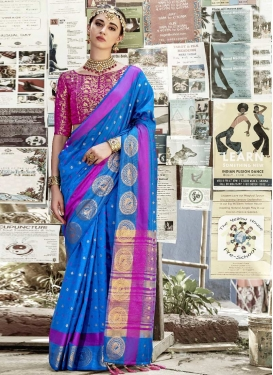 Thread Work Nylon Silk Contemporary Style Saree