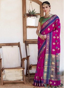 Thread Work Nylon Silk Fuchsia and Green Trendy Saree
