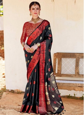 Thread Work Nylon Silk Traditional Saree For Ceremonial