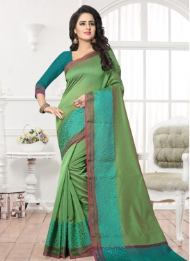 Thread Work Olive and Teal Trendy Classic Saree