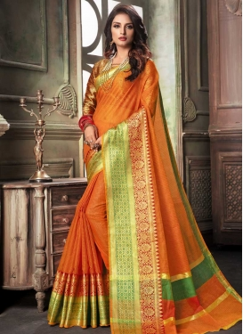 Thread Work Orange and Red Contemporary Style Saree
