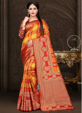 Thread Work Orange and Red Traditional Designer Saree