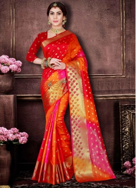 Thread Work Orange and Red Traditional Saree