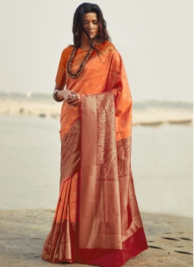 Thread Work Orange and Red Trendy Saree