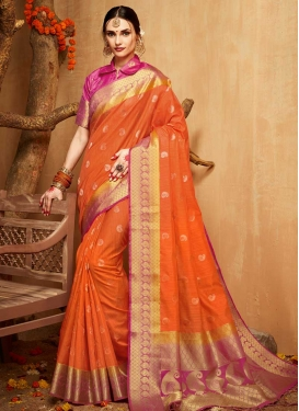 Thread Work Orange and Rose Pink Designer Traditional Saree