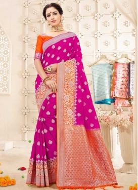 Thread Work Orange and Rose Pink Traditional Saree