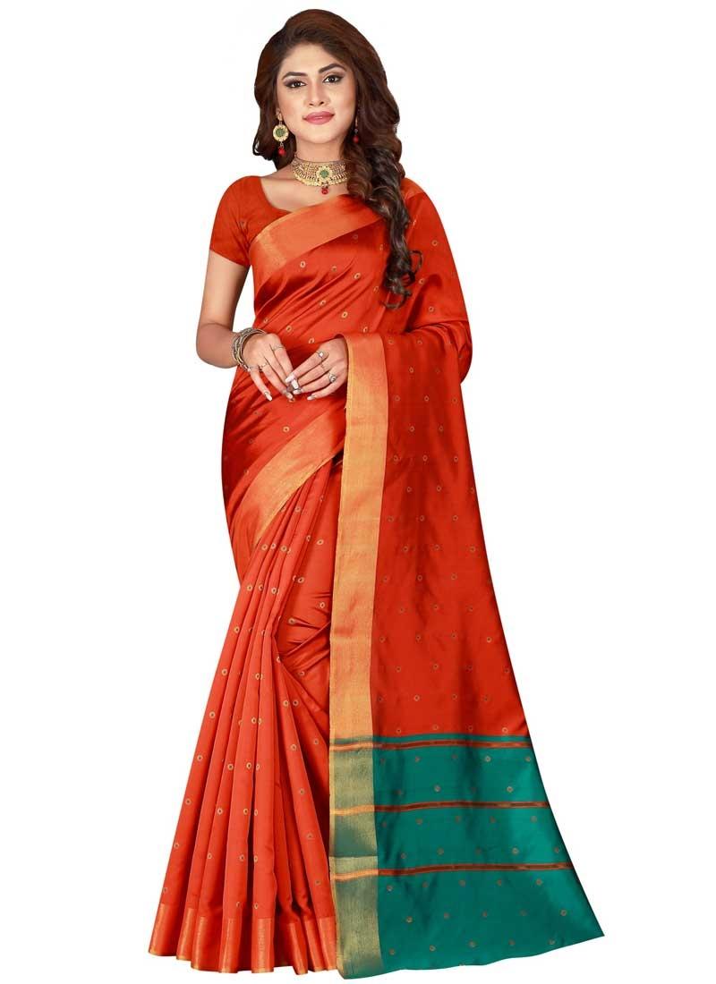 Thread Work Orange and Teal Traditional Saree