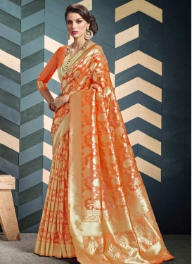 Thread Work Organza Contemporary Style Saree For Ceremonial