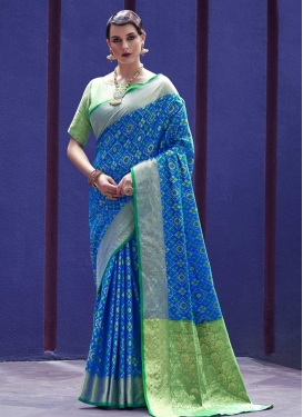 Thread Work Patola Silk Contemporary Style Saree For Ceremonial
