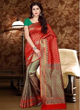 Thread Work Patola Silk Half N Half Trendy Saree