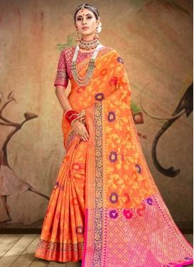 Thread Work Patola Silk Orange and Rose Pink Traditional Saree