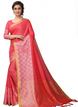 Thread Work Pink and Salmon Trendy Classic Saree