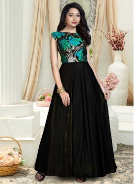Thread Work Readymade Floor Length Gown