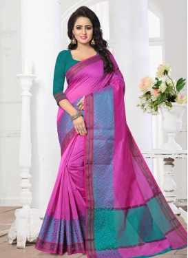 Thread Work Rose Pink and Teal Contemporary Saree