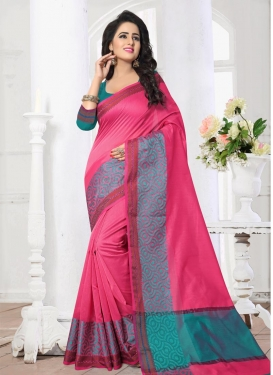 Thread Work Rose Pink and Teal Contemporary Style Saree