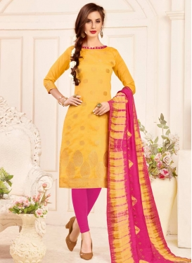 Thread Work Rose Pink and Yellow Jacquard Silk Trendy Churidar Salwar Suit