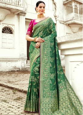 Thread Work Silk Contemporary Saree