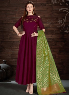 Thread Work Tafeta Silk Maroon and Mint Green Floor Length Trendy Gown