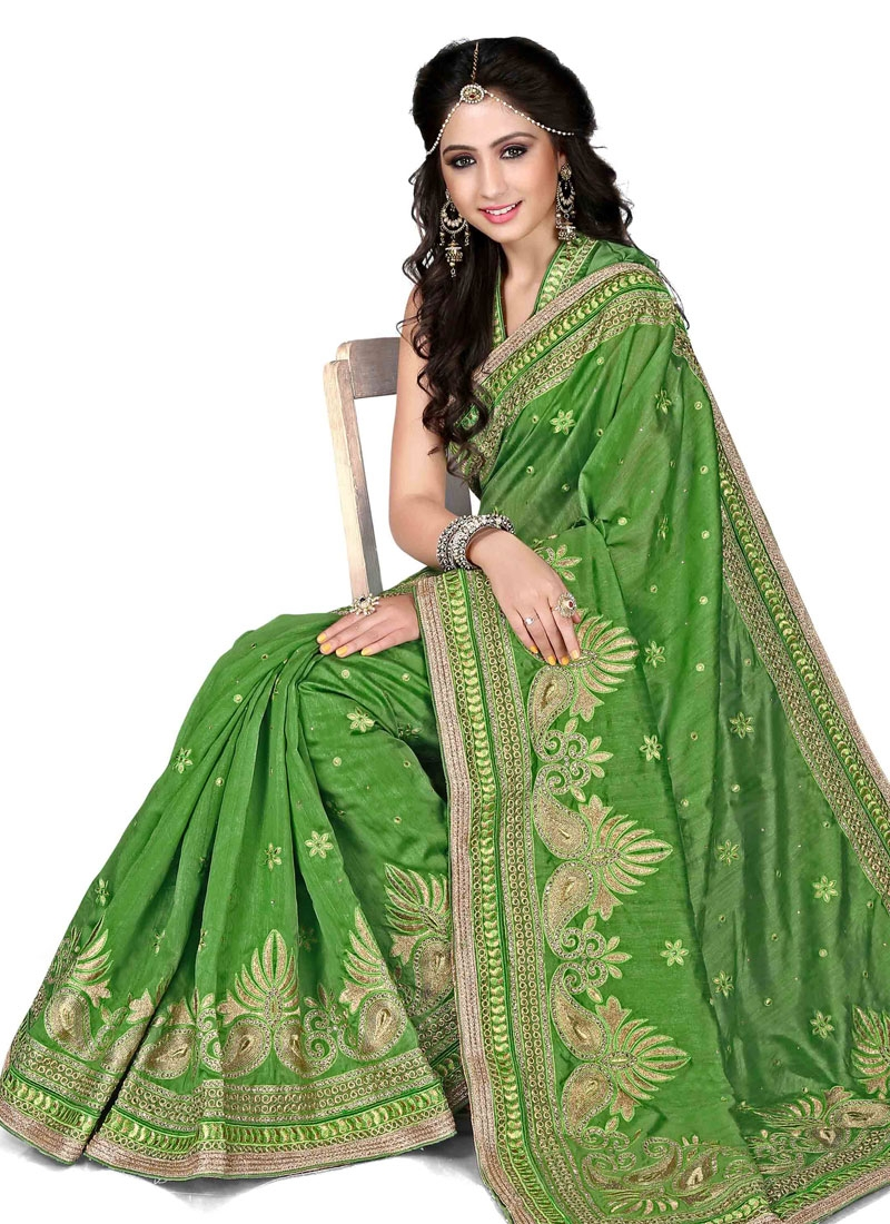Thrilling Aloe Veera Green Color Party Wear Saree