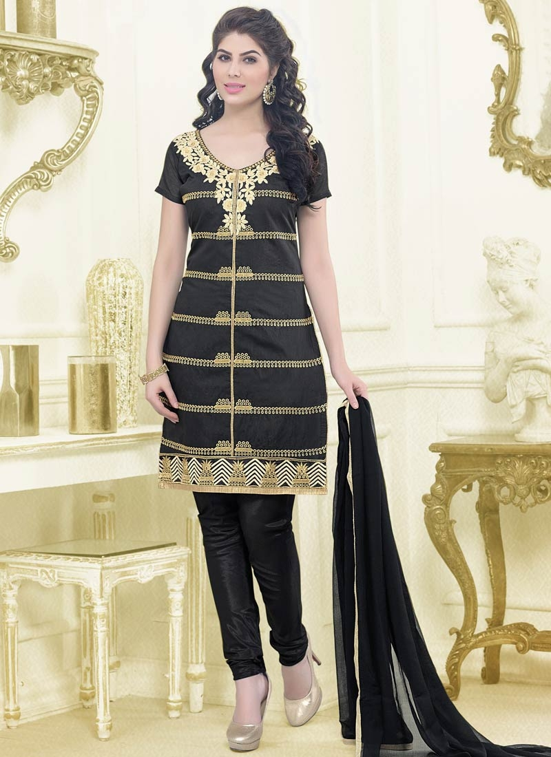 Thrilling Black Color Resham Work Casual Salwar Suit