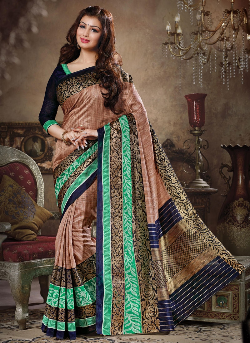 Thrilling Brown Color Art Silk Ayesha Takia Casual Saree