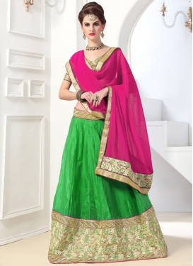 Thrilling Chanderi Silk Booti Work Trendy A Line Lehenga Choli