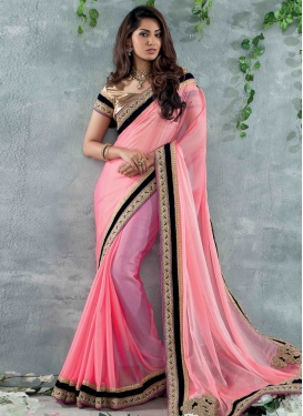 Thrilling Chiffon  Lace Work Party Wear  Saree