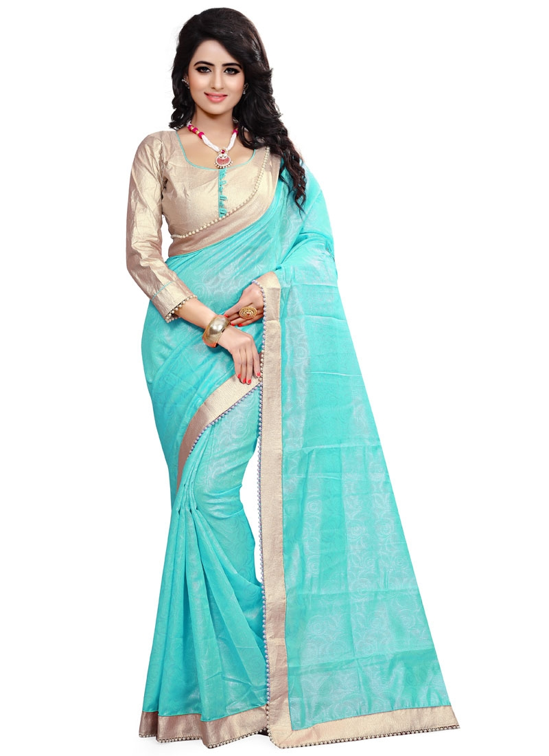 Thrilling Crepe Jacquard Resham Work Party Wear Saree