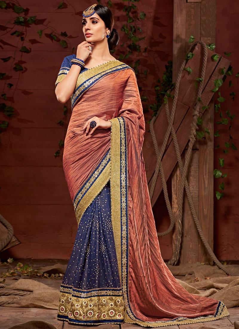 Thrilling Crepe Silk Patch Border Work Half N Half Wedding Saree