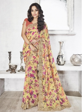 Thrilling Digital Print Work Faux Georgette Contemporary Style Saree For Festival