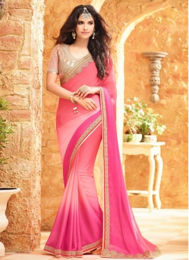 Thrilling Embroidered Work  Traditional Saree