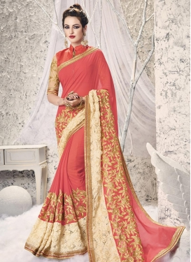 Thrilling Faux Georgette Embroidered Work Cream and Salmon Designer Contemporary Saree
