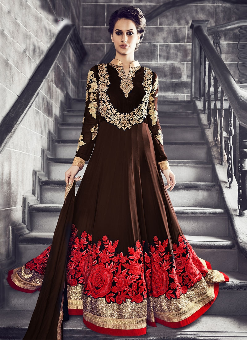 Thrilling Floral And Stone Work Floor Length Wedding Suit