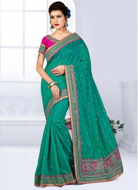 Thrilling Lace Work Chanderi Silk Traditional Saree